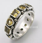 925 Sterling Silver Beautiful CUT CITRINE GEMSTONES HANDWORK Ring Band Any Size