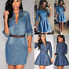 Fashion Women Casual Party Short Mini Dress Denim Jean Long Sleeve Shirt Dresses