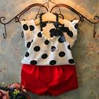 New Baby Girls Clothing Set Polka Dot Top+Red Shorts+Necklace 3Pcs Outfit N4U8