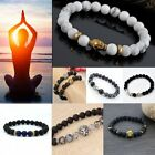 Natural White Howlite Stone Gold Silver Buddha Men's Beaded Lucky Bracelet Reiki