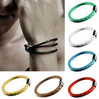 Unisex Women Men Braided Leather Bangle Steel Magnetic clasp Bracelet Fashion
