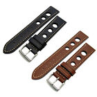 CONDOR Rally Style Genuine Leather Watch Band White Stitching Black Brown 682R