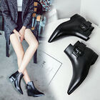 Fashion Womens Buckle Ankle boots Flat Pointy toe zipper Low heels Riding shoes