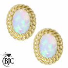 BJC® 9ct Yellow Gold Natural Opal Rope Edge Oval Stud Earrings Studs ER24