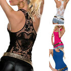 Sexy Women Ladies Summer Lace Vest Top Sleeveless Shirt Blouse Tank Tops T-Shirt