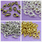 Freeshipping 15/25pcs Silver Plated Lobster Clasps Gold Bronze Black 10/12/14mm