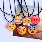 Funny Cartoon Emoji Photo Cabochon Glass Choker Leather Chain Pendant Necklace