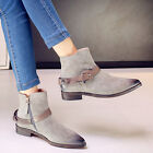Womens Metallic Buckle Strap Ankle  Flat Cowboy Pointy Toe Fashion Roman Boots
