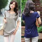 Womens Relaxed V-neck Short Sleeve Fit Chiffon T-shirt 2Color Tops Blouse N4U8