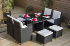 LOW PRICE Rattan 9 piece Cube Black Dining Table set with Chairs and Footstools