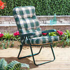 Garden Recliner Chair - Green Folding Adjustable Frame with Classic Cushion