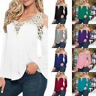 Women's Plus Size Sexy V Neck Long Sleeve Lace Crochet Shirt Loose Blouse Tops