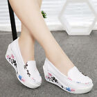 Womens Floral Walking Fitness Toning Shoes Platform Wedge Sneakers Creeper Shoes