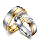 couples rings - 18K Gold Plated CZ Stainless Steel Couple Ring Men/Women Wedding Band Size 5-13