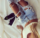 SEXY UK Lady High Waisted Jeans Loose Pants Ripped Distressed Beggar Hole jeans
