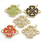 1pc Golden Metal Clover Flower Charms 2-Strand Connector Pendant Punk Finding