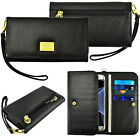 Women's Genuine Leather Wristlet Strap Card Wallet Case Cover for Smartphone