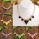 Multicolor Lady's Golden Bib Choker Necklace Triangle Gemstone Pendant Chain 1x