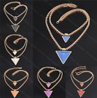 Korean Gold Tone Geometric Double Layer Triangle Pendant Box Chain Necklace NEW