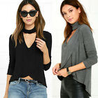 Fashion Women Long Sleeve Irregular V Neck Blouse Cross Tops Casual T-Shirt