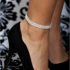 1-5Row Clear Crystal Tennis Silver Gold Stretch Anklet Foot Chain Leg Bracelet