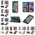 1Pc Rhinestone 3D Dense Card Slots Leather Case Cover+Wrist Strap For Cell Phone