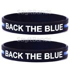 One BACK THE BLUE Wristband - Law Enforcement Bracelet Pick Size Thin Blue Line