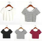 Fashion Women Sexy Short Sleeve Crop Tops Yoga Casual Blouse Vest T-Shirt LAUS