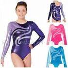 NEW 2 Tone Bright Foil Mystique L/S Gymnastics Competition Leotard Rhinestones