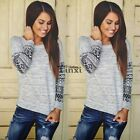 Women's Long Sleeve Shirt Casual Lace Blouse Loose Cotton Tops T Shirt Gray Tee