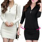 Vintage Casual Long Sleeve Button Up Office One Piece Trendy Dress UK sz 6-14