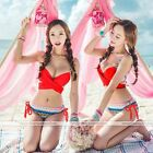 Sexy Women Bandage Bikini Push-up Padded Bra Top Set Swimsuit Swimwear Red
