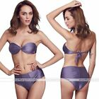 Lady Twist Cup Bikini Set Swimsuit Bra Padded Push Up Bathing Suit Grape Purple