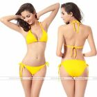 Women Bikini Swimsuit Bathing Push-up Padded  Halter Bandage Swimwear Bra Yellow