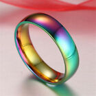 Vogue Rainbow Smooth Stainless Steel Ring Men/Women Couple Band Lover Ring #7-13