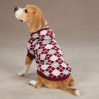 CHOOSE SIZE - East Side Collection - HOODED ARGYLE SWEATER - DOG PUPPY - PINK