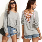 Women Fashion Lace Up Backless Pullover Long Sleeve Bandage Tops Sweatshirt A