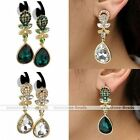 2x Clear Crystal Flower Gold Tone Dangle Teardrop Gem Earring Party Jewelry Gift