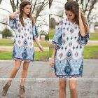 Women Summer Casual Loose Half Sleeve Short Dress Bohemian Floral Printing Dress