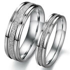 Men/Women's Silver Frosted Stainless Steel Couple Engagement Band Ring Size 5-12