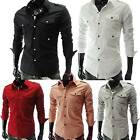 New Men Boy Casual Long Sleeve Solid Color Shirts Office Dress Slim Fit T-shirts
