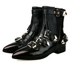 Punk Trendy ankle Boots Genuine leather tassel Womens sheos Pointy Buckle Zipper