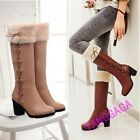 Sweet Womens Casual Faux Fur Strappy Round Toe Chunky High Heel Knee High Boots