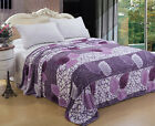 CaliTime Soft Fleece Purple Leaves Flannel Throw Blanket Single Full Queen King