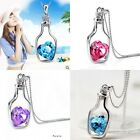 Womens 9K White Gold Filled AAA CZ & Crystal Heart Shape Necklace & Pendant