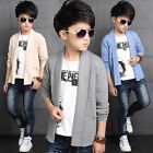 Fashion Kids Boys High Quality Cotton Blend Casual Cardigan Knit Sweaters 4-13Y