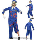 CA21 Zombie Capatain Pilot Mens Walk Dead Horror Scary Uniform Halloween Costume