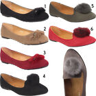 New Ladies Womens Slip On Flat Ballerina Ballet Fur Pumps Slippers Shoes Sizes