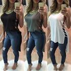 New Fashion Women Summer Hollow Out T Shirt Loose Club Dress Blouse US