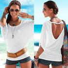 Sexy Women Casual Short Sleeve Loose Summer Backless T-shirt Tops Blouse